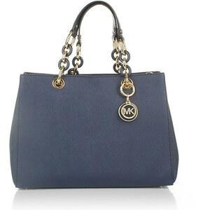 Michael Kors Tasche - Cynthia MD NS Satchel Navy - in blau aus Saffianoleder - Henkeltasche für Damen