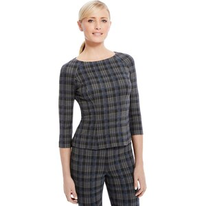 Marks and Spencer Shell-Top mit Karomuster und 3/4-Arm
