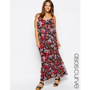 ASOS CURVE - Exklusives, zweilagiges Kleid mit Rosenmuster - Mehrfarbig