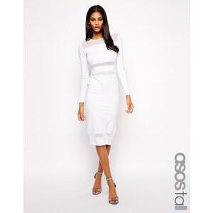 ASOS TALL - Knielanges, figurbetontes Kleid mit Netzeinsätzen - Weiß