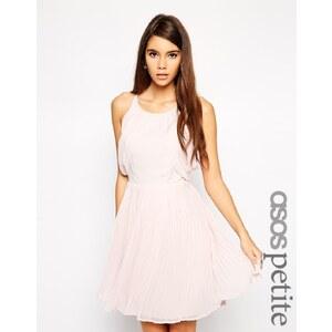 ASOS PETITE - Exklusives Kleid mit Faltenrock und drapiertem Detail - Nude