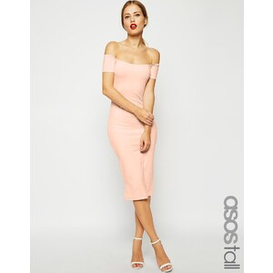 ASOS TALL - Figurbetontes Midikleid im Bardot-Stil - Blush