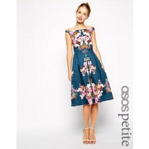 ASOS PETITE - Schulterfreies, knielanges Vintage-Kleid mit Winterblumenmuster - Druck