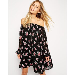 ASOS Gypsy Swing Dress with Off Shoulder Sleeves in Floral Print - Print