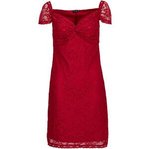 BODYFLIRT Spitzenkleid/Sommerkleid kurzer Arm in rot von bonprix