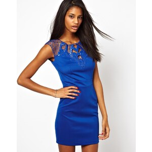 Little Mistress Bodycon Dress With Lace Cut Out