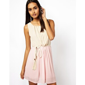 Club L Two Colour Dress with Rope Belt