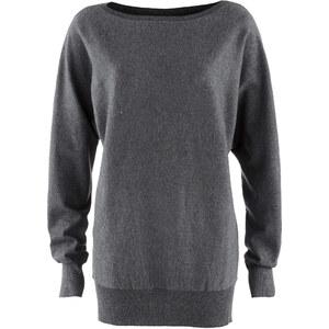 bpc bonprix collection Pullover langarm figurumspielend in grau (U-Boot-Ausschnitt) für Damen von bonprix