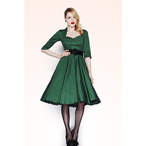 Bunny 50s Momo swing dress Green Black polka dot