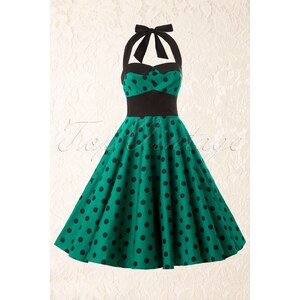 Bunny Adelaide 50s Swing Halter Dress in Green Black Polka Dot