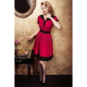 Banned 50s Lola Swing Dress in Raspberry Red