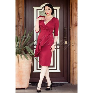 Collectif Clothing 50s Rita Pencil Dress Vintage Red