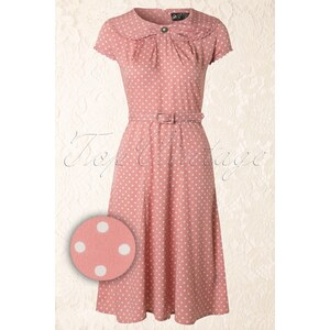 Bunny 40s Ingrid Dress in Soft Pink with White Polka