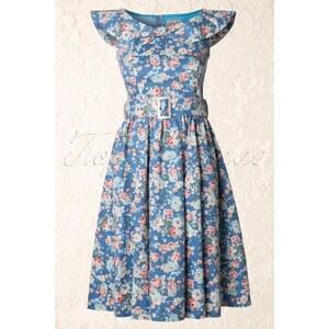 Lindy Bop 1950s Hetty Swing Dress in Floral Sky Blue