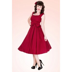 Lindy Bop 1950's Grace Red Bow vintage style swing party rockabilly evening dress