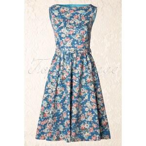 Lindy Bop 50s Audrey Floral Semi Swing Dress in Sky Blue