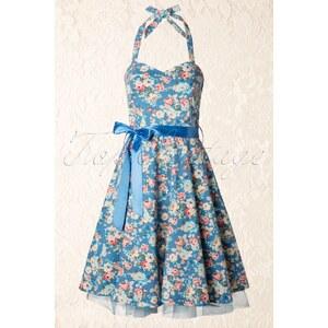 Lindy Bop 1950s Bonnie Swing Dress Floral Blue