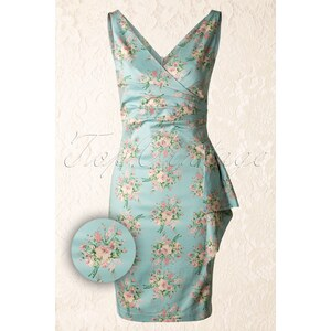 Vixen 50s Royale Floral Dress in Pastel Blue