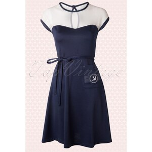 Rock Steady Clothing 50s Sparrow Ribbon Dress Navy and White
