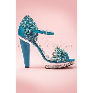 Bettie Page Shoes 20s Lourdes Rhinestone Scallop Sandals in Blue
