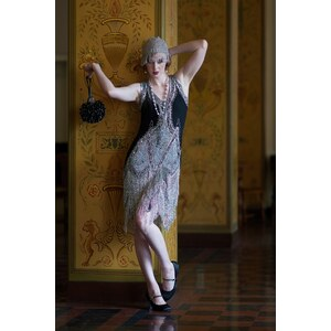 Unique Vintage 20s Deluxe Flapper Dress in Black and Silver