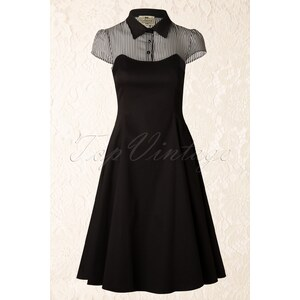 Collectif Clothing 50s Jemima Striped Doll Swing Dress in Black