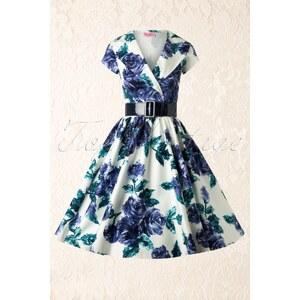 Pinup Couture 50s Birdie Dress in Blue Vintage Floral