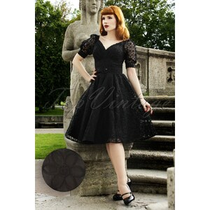 Miss Candyfloss 50s Venus Luxurious Dress in Black