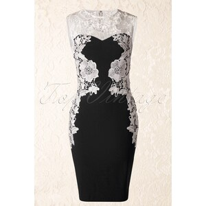Paper Dolls Donna Black and Cream Crochet Lace Pencil Dress