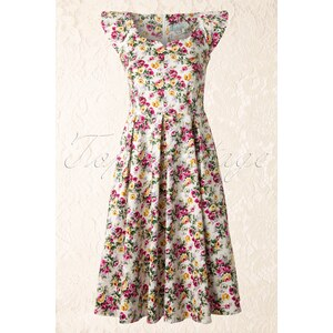 Whispering Ivy TopVintage exclusive ~ 50s White Floral Ladies Dress