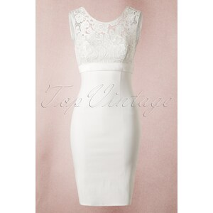 Unique Vintage 50s White Lace Bow Pencil Dress
