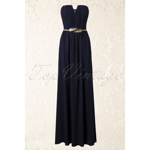 Little Mistress 20s Never Leaf Me Maxi Dress in Navy