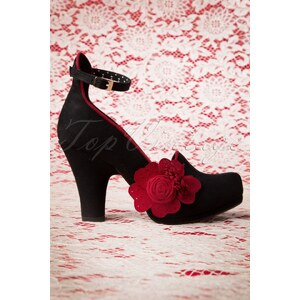 Ruby Shoo 50s Strappy Diaz Shoes in Black and Red