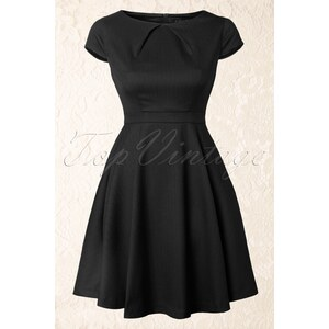 Fever Canary Wharf Fit and Flare Dress in Black