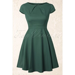 Fever Canary Wharf Fit and Flare Dress in Green