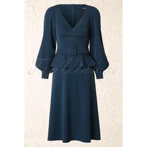 Miss Candyfloss 40s Hanna Peplum Dress in Petrol