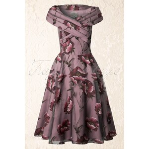 Collectif Clothing 50s Dorothy Tulle Winter Floral Swing Dress Mauve