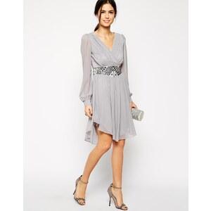 Little Mistress - Langärmliges Kleid mit verzierter Taille - Grau