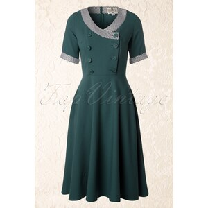Collectif Clothing 40s Yvonne Swing Dress in Teal