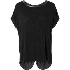 RAINBOW Bluse mit PU-Schleifen kurzer Arm in schwarz von bonprix