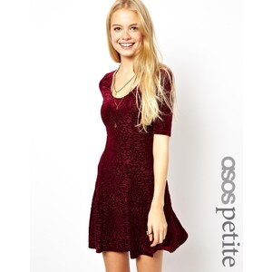 ASOS PETITE Exclusive Skater Dress In Flocked Velvet