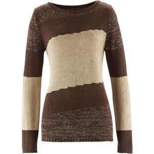 bpc selection Pullover langarm figurumspielend in braun (U-Boot-Ausschnitt) für Damen von bonprix