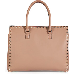 Valentino Leather Studded Shopper Tote