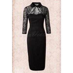 Collectif Clothing 50s Renee Lace Pencil Dress in Black