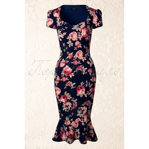 Vintage Chic 50s Demure Pencil Dress in Floral Navy