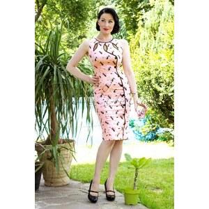 Vixen 50s Jasmin Pink Pencil Dress with Black Cats