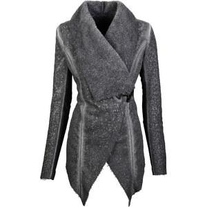 BODYFLIRT Fellimitat-Jacke langarm in grau für Damen von bonprix