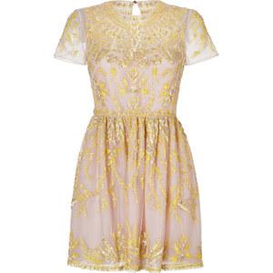 Valentino Beaded Short Sleeve Dress in Blush