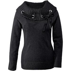 BODYFLIRT Pullover langarm figurbetont in schwarz (Carmen-Ausschnitt) für Damen von bonprix