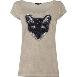 comma T-Shirt mit Pailletten-Fuchs